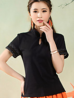 Women's Blue/Red/Black T-shirt , Round Neck Short Sleeve Embroidery