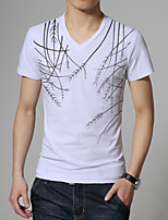 Men's Korean Fashion Print V Collar Slim Short Sleeved T-Shirts