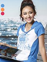 Damen T-Shirt Baumwolle/Mikrofaser Kurzarm Mit Kapuze