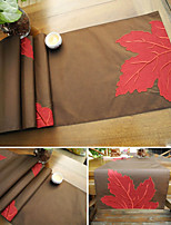 Maple Leaf Applique Embroidery Table Runner Coffee White Runner