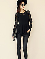 Women's Solid Black Blouse , Round Neck Long Sleeve Lace