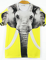 European Style TEE Digital Printing 3D T-shirt Elephant Harajuku Sleeved T-shirt