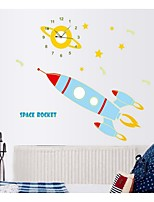 Cartoon Luminous Clock Stickers Stick A Small Rocket School Children Room Decoration