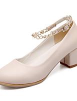 Women's Shoes Chunky Heel Heels/Round Toe Pumps/Heels Dress Blue/Beige