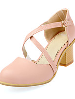 Women's Sandals Basic Pump Summer PU Casual Dress Party & Evening Lace-up Chunky Heel Beige Blue Blushing Pink 1in-1 3/4in