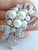 Wedding Accessories Silver-tone Pearl Rhinestone Crystal Bridal Brooch Wedding Deco Flower Brooch Bouquet Bridal Jewelry