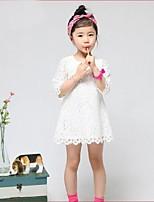 Kids Girls Lace 1/2 Sleeve Princess Party Dresses (Lace)