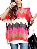 Women Long Batwing Sleeve Stripes Patchwork Blouses Tops Clothes