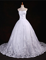 ボールガウン ウェディングドレス ホワイト チュール ハートカット フロア 丈