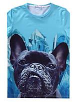 European Style TEE Digital Printing 3D T-shirt Rhinestone Dog Harajuku Sleeved T-shirt