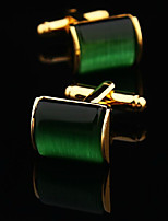 Toonykelly® Fashion Gold Plated Green Stone Handsome Shirt Cufflink(1 Pair)