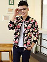Men's Casual Plus Sizes Print Long Sleeve Regular Jacket (Polyester)