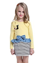 Baby Kids Girls Cartoon Printed Bow Flounce Tops Hem Striped Mini Dresses (Cotton)