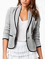 Women's ¾ Sleeve Blazer , Cotton Blends Regular Work