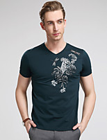 Men's Short Sleeve T-Shirt , Cotton Casual/Sport/Plus Sizes Print