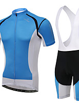 WEST BIKING® Men's Mountain Bike Clothing Bib Suit Breathable Fresh Blue Wicking Cycling Clothing Bib Short Suit