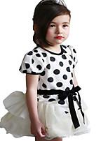 Kids Girls Summer Dots Stripes Short Sleeve Party Mini tutu Dresses (Cotton Blends)
