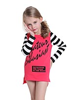 Spring Autumn Baby Kids Girls Letters Printed Striped Long Sleeve Casual Dress (Cotton)