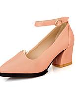 Women's Shoes Chunky Heel Heels/Pointed Toe/Closed Toe Pumps/Heels Wedding/Office & Career/Dress Pink/Purple/White/Beige
