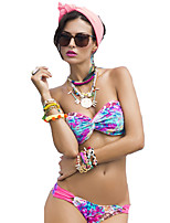 Women's Halter Bikinis , Floral Wireless Polyester Multi-color