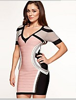 V-Neck Print/Beading Spandex/Nylon/Rayon Evening Bandage Dress For Party