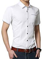 Men's Short Sleeve Shirt , Cotton Casual/Work/Formal/Sport/Plus Sizes Pure