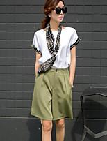 Women's Slim Solid Color T-Shirt Fashion Casual Pants Suit