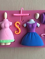 herramientas de la torta de la pasta de azúcar en forma de silicona del molde del molde del chocolate / decoración vestido percha para la