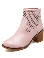 Women's Shoes Chunky Heel Fashion Boots/Bootie/Pointed Toe Boots Dress Black/Blue/Pink/Beige