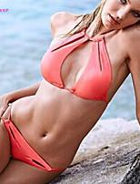 Women's Halter Bikinis , Solid/Bandage/Cross Push-up/Wireless/Padded Bras Polyester/Spandex Pink/Purple