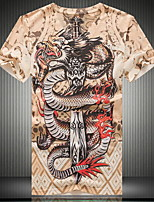 Men's V-neck Fashion Punk 3D Dragon Digital Printing  Short  Sleeved T-shirt