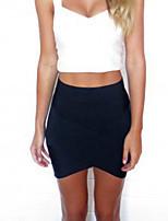 Women's Sexy Bodycon Stretchy Thin Asymmetrical Skirts (Cotton Knitwear)
