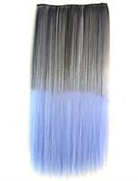 תוספות שיער עבה סינטטי ישר צבע כפול קליפ על שיער