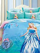 Duvet Cover Set,3D Cartoon Print Cotton Comforter Bedding Set Queen Size Duvet Cover Sheet Pillowcase Linen Home Textile
