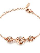 T&C Women's Elegant 18K Rose Gold Plated with Triple Crystal Flower Rhinestones Party Jewelry Friendship Bracelets