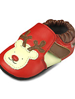 Baby Slip On Shoes Outdoor Suede Loafers Red with Cartoon Deer