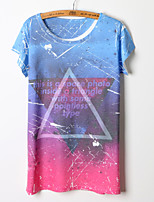 Women's Galaxy/Geometric Multi-color T-shirt , Round Neck Short Sleeve