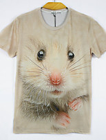 European Style TEE Digital Printing 3D  Animal Hamster T-shirt Harajuku Sleeved T-shirt