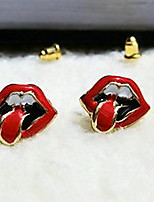 Women's Korean Jewelry Explosion Trendy Big Mouth & Tongue Bright Red Earrings
