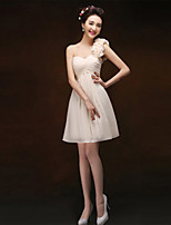 Knee-length Chiffon Bridesmaid Dress - Blushing Pink/Champagne Sheath/Column One Shoulder