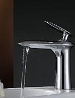 shengbaier laiton chromé contemporaine un trou poignée simple robinet d'évier
