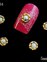 034 5mm Beauty Jewelry 3D Golden White Pearl Alloy Metal 10PCS DIY Nail Art Nail Jewelry Supplies Hot