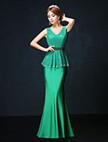 Formal Evening Dress - Dark Green Petite Trumpet/Mermaid V-neck Ankle-length Lace / Charmeuse
