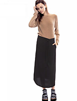 Women's Solid Black Skirts , Casual Maxi