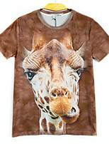 European Style TEE Digital Printing 3D  Animal Giraffe T-shirt Harajuku Sleeved T-shirt