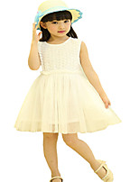 Kids Girls Summer Sleeveless Rose Tops Lace Tulle Party Dresses (Cotton)