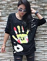 Damen T-Shirt Baumwolle ¾-Arm Rundhalsausschnitt