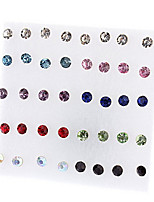 Round Shape Rhinestone Stud Earrings Mixed Color
