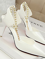 Women's Shoes Faux Leather Stiletto Heel Heels Pumps/Heels Party & Evening/Dress/Casual Black/White
