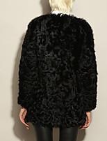 Fur Coats Coats/Jackets Long Sleeve Wool/Lambskin Leather Black